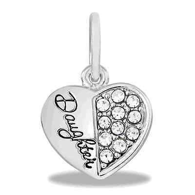 SILVER CRYSTAL DAUGHTER DANGLE EUROPEAN STYLE HEART BRACELET CHARM Pandora gift
