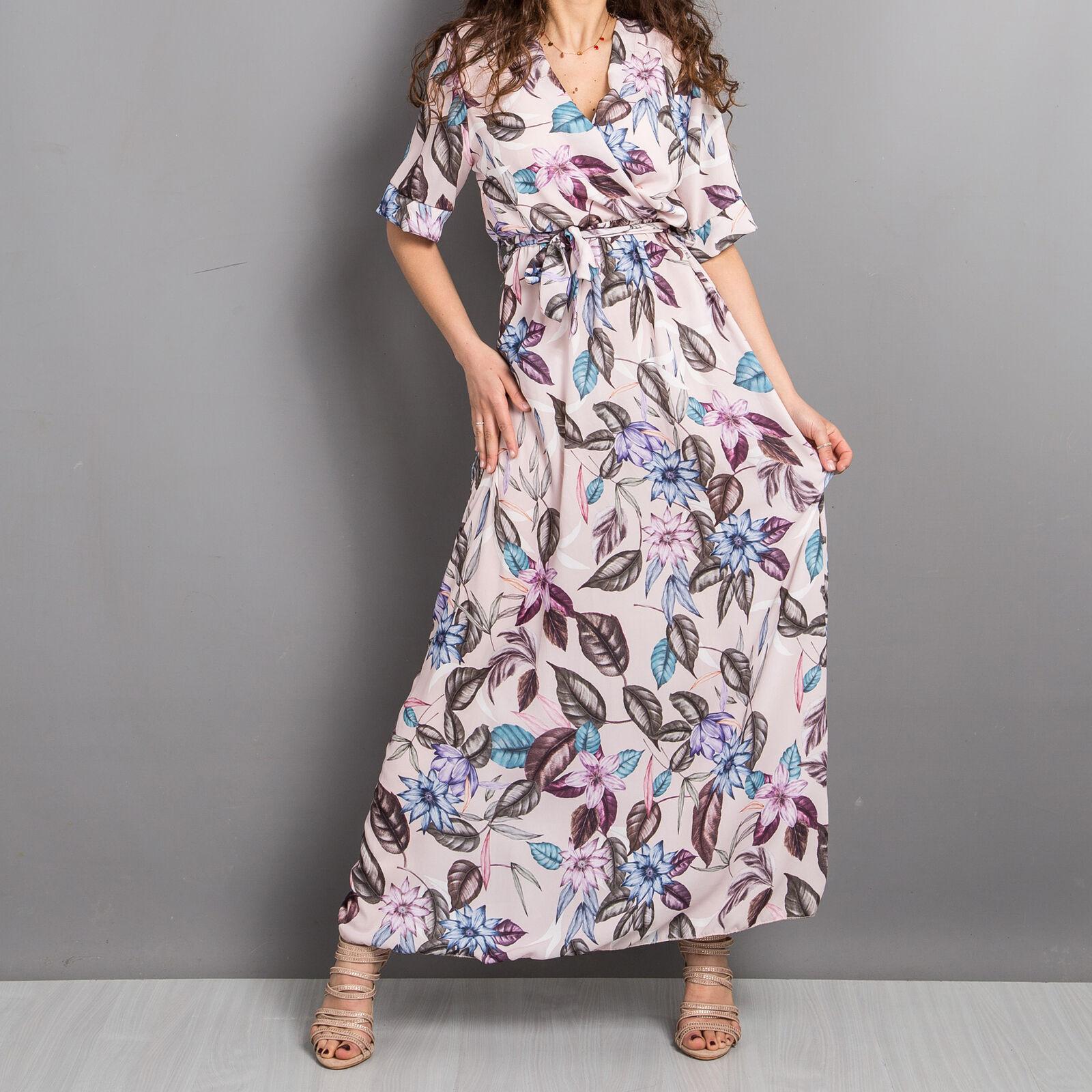 d8c95402fd8d Vestito donna abito lungo fantasia floreale fiori gonna ruota top scollato  1596