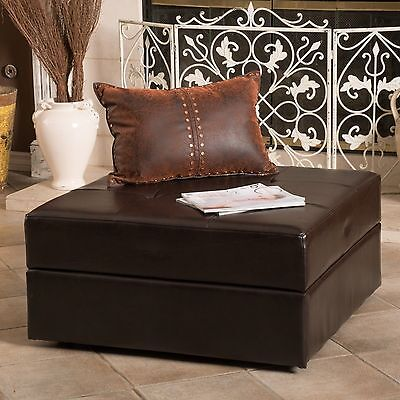 Ottoman  Brown Leather Storage Saver Padded and Tufted Top Caster Wheels