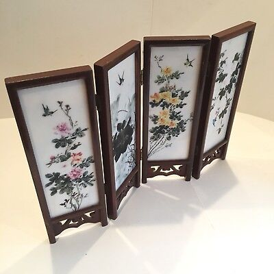 Vintage Oriental Wood And Ceramic / Porcelain Table Screen Hand Painted