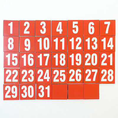 Magnetic Numerical Days Of The Month White On Red - Set Of 34 Magnets 1 X 1