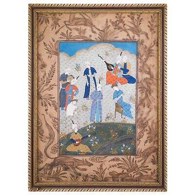Vintage India Ethnic miniature Mughal Harem painting figurines with on black silk
