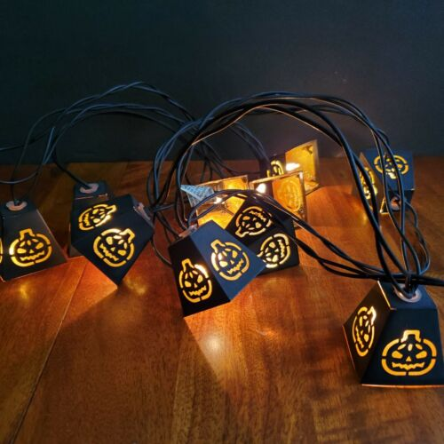 Halloween Pumpkin Metal Lantern String Lights 10 Lights 10 Foot Cord