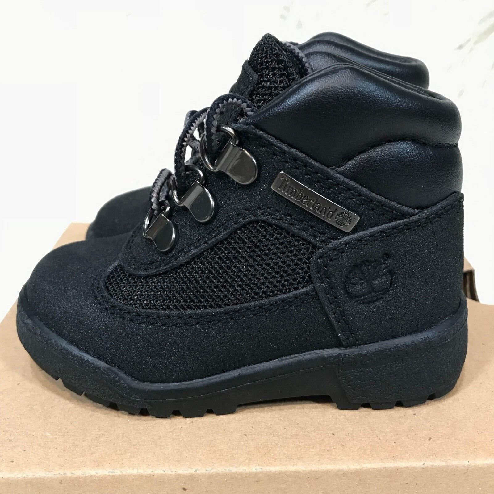 "TIMBERLAND FIELD BOOT TODDLER BLACK LEATHER WP KIDS BOOTS ""NIB"""
