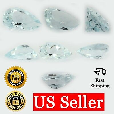 Loose Pear Shape Cut Genuine Aquamarine Topaz Stone Single Blue March Birthstone