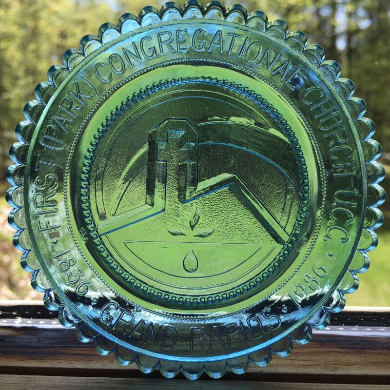 Grand Rapids MI Park Church Vintage Pairpoint Glass Cup Plate Window Decoration
