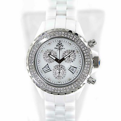 Techno Jpm 868C Diamonds Bezel White Ceramic Chronograph Quartz Womens Watch