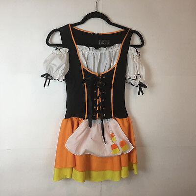Women's Candy Corn Sexy Witch Halloween Costume Bustier Dress Jr S/M, P/M](Corn Halloween Costume)