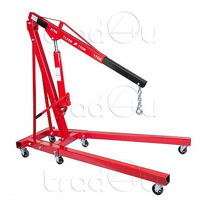 2 Ton Hydraulic Folding Workshop Engine Crane Hoist Lift Stand Wheels