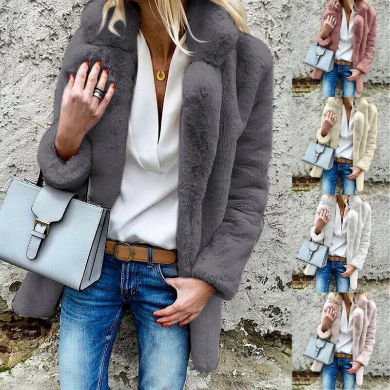 Damen Kunstfell Winterjacke Teddyfell Mantel Pelz Fleecejacke Cardigan Outwear X