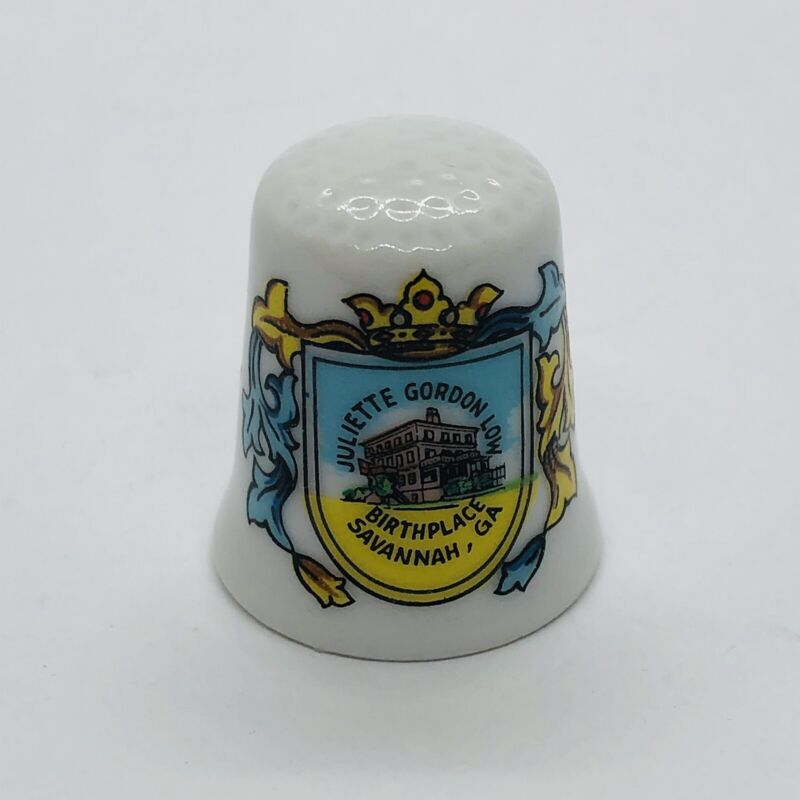 Julette Gordon Low Birthplace Souvenir Porcelain Thimble - Savannah GA