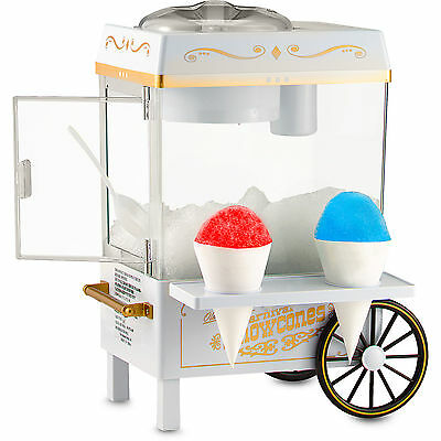 Mini Snow Cone Maker Shaved Ice Machine W Cart Stand Home Snowcone Crusher