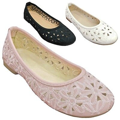 Kids Girls Ballet Flats Floral Embroidered Cut Out Slipper Shoes Youth Size 9-4