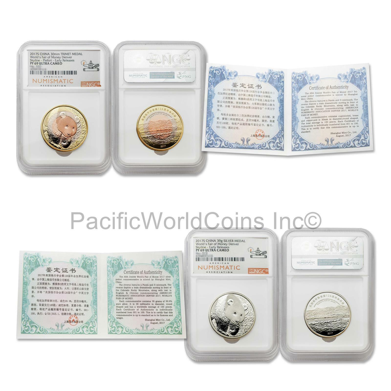2 pc Coin Set China 2017 Denver ANA Panda Tri-Metal /& 30 g Silver