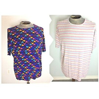 - LULAROE NWT Women Squiggle Triangles/Stripe Blue Red Lot Of 2 Sz XS Extra Small