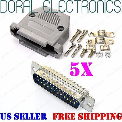 5x DB25 25-Pin Male Solder Cup Connector Plastic Hood Shell & Hardware DB-25 (25 Pin Male Connector)
