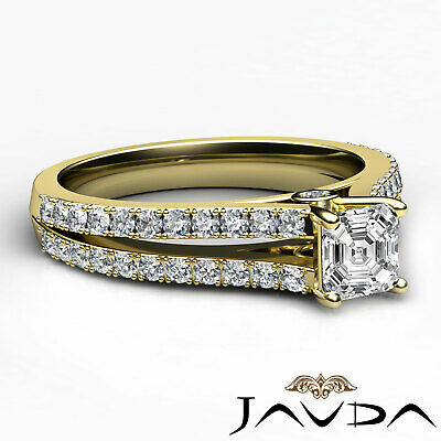 Asscher Shape Diamond Engagement Prong Set Ring GIA Certified F Color VS2 1.15Ct 2