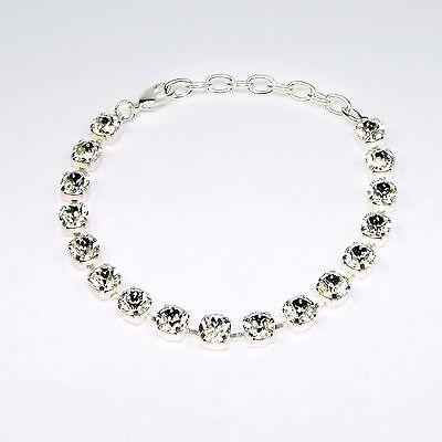 Damen Armband mit Swarovski Kristallen Tennis 925 Silber Versilbert  Klar Weiß