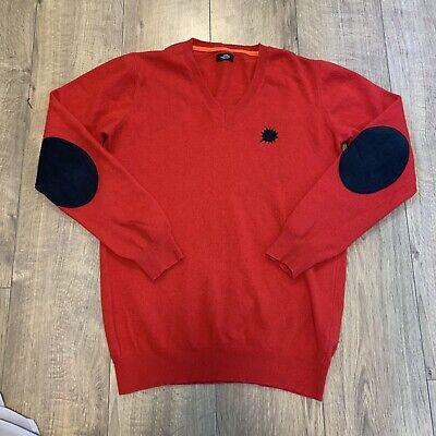 MADS NORGAARD NØRGAARD Red Mens Italian Lambswool Jumper Sweater Elbow Pad Large