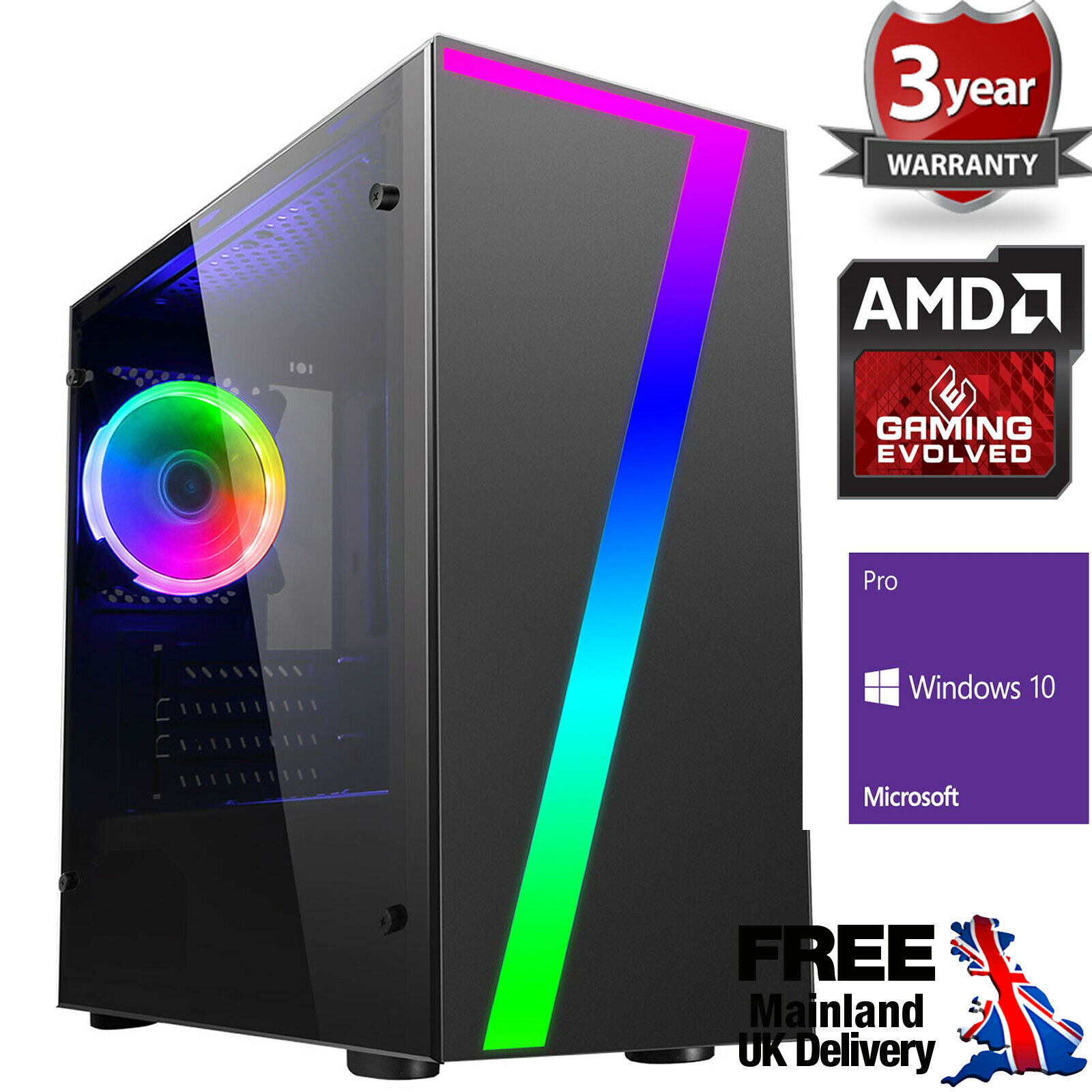 Computer Games - Ultra Fast AMD Quad Core DDR4 Spec Your Graphics Home Gaming PC Computer 7 RGB