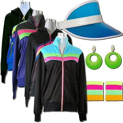 80er Jahre Retro Party Kleidung im 80s Look + Damen Karneval Modeschmuck, Jacke ()