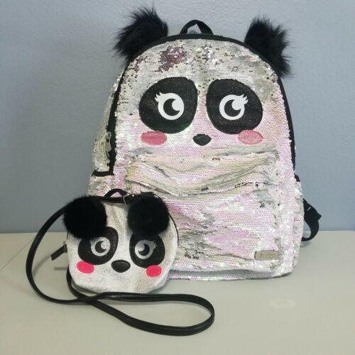 Justice Panda Bear Sparkle Iridescent Flip Sequin School Backpack & Purse Bundle
