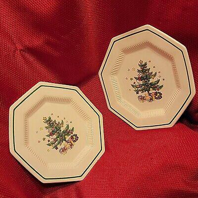 """2x VTG 8"""" Ceramic Porcelain CHRISTMASTIME Appetizer sml PLATES nikko christmas"""