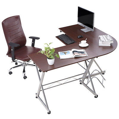 L-shaped Corner Computer Desk Wood Pc Laptop Table Workstation Home Office