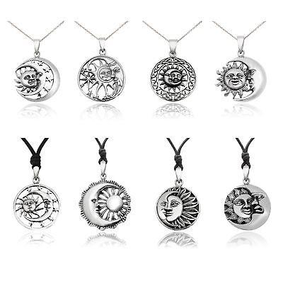 Sun Moon Yin Yang 92.5 Sterling Silver Pewter Brass Necklace