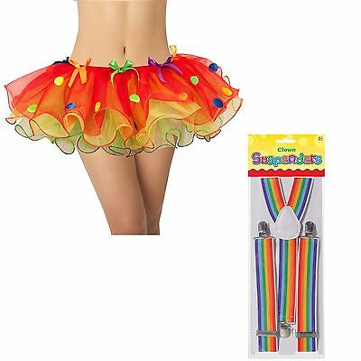 Ladies Coloured Red Polka Dot Clown Tutu + Rainbow Braces Fancy Dress Accessory
