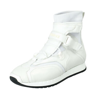 Versace Men's White Leather Hi Top Fashion Sneakers Shoes 7.5 8 8.5 9 10 10.5 11