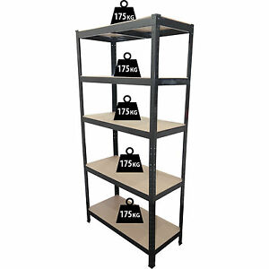 1.8M 5 Tier Heavy Duty Metal Shelving Unit Industrial Boltless Shelves Storage
