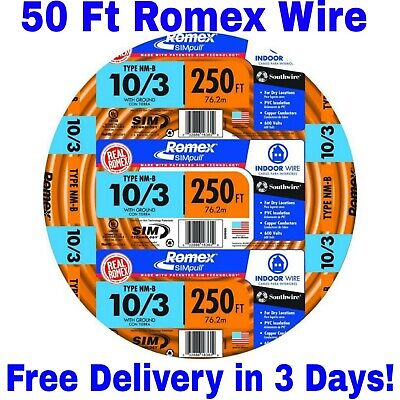 103 Wground Romex Indoor Electrical Wire 50 Feet All Lengths Available