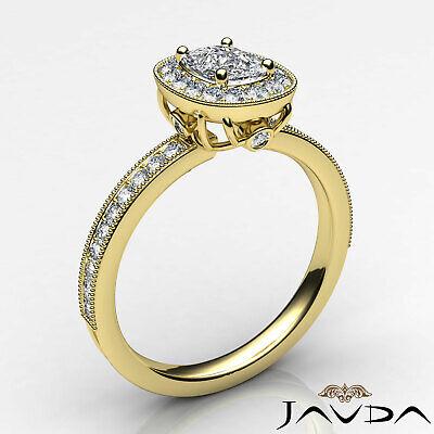 Milgrain Halo Pave Bezel Set Cushion Diamond Engagement Ring GIA G Color VS2 1Ct 8