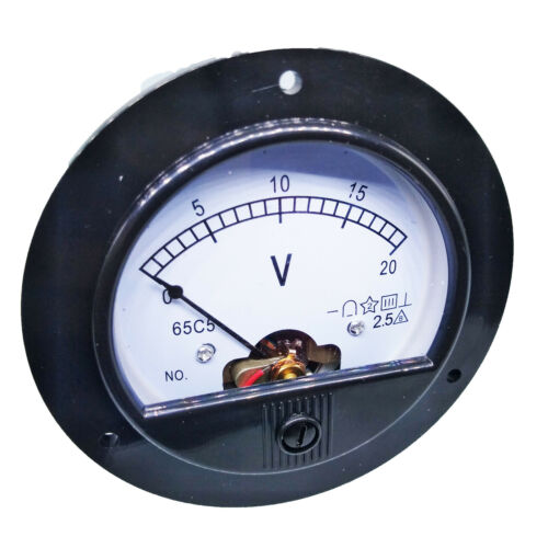 US Stock DC 0 ~ 20V Round Analog Volt Pointer Needle Panel Meter Voltmeter