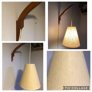 Teak Mid Century Modern Swing Arm Adjustable Wall Light