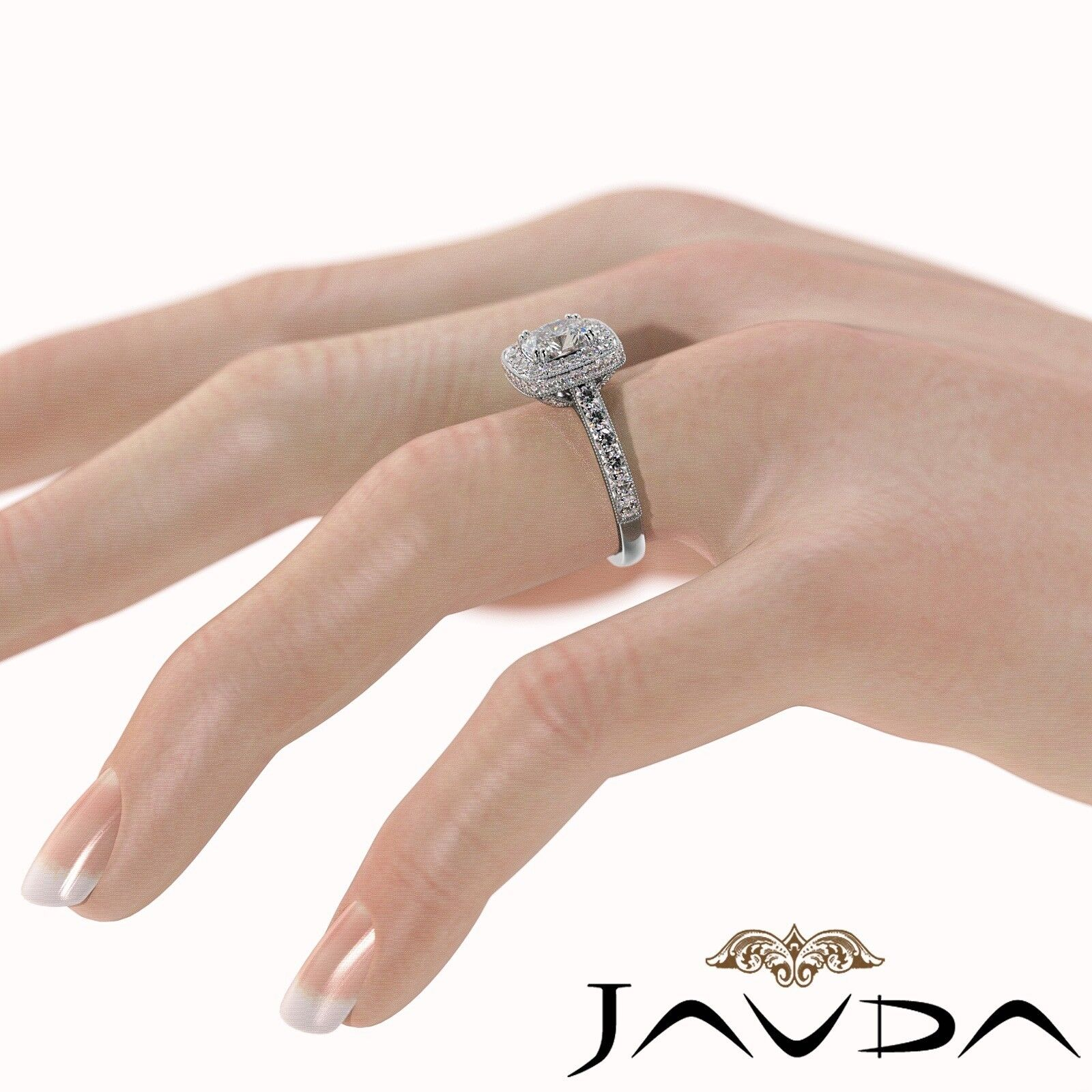 2.12ctw Milgrain Floral Basket Cushion Diamond Engagement Ring GIA I-SI2 W Gold 4