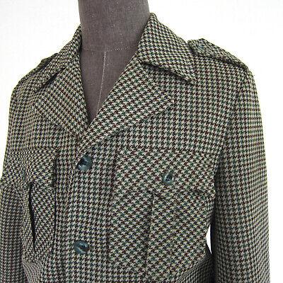 Vtg 70s Disco California Trends Western Houndtooth Jacket Men M Epaulets Distres Mens Disco Jacket
