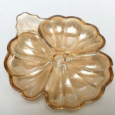 "Carnival Glass Opalescent Shamrock Shaped Candy Dish Abt 6.75"" Incl Handle"