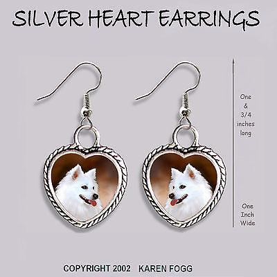 AMERICAN ESKIMO DOG - HEART EARRINGS Ornate Tibetan Silver