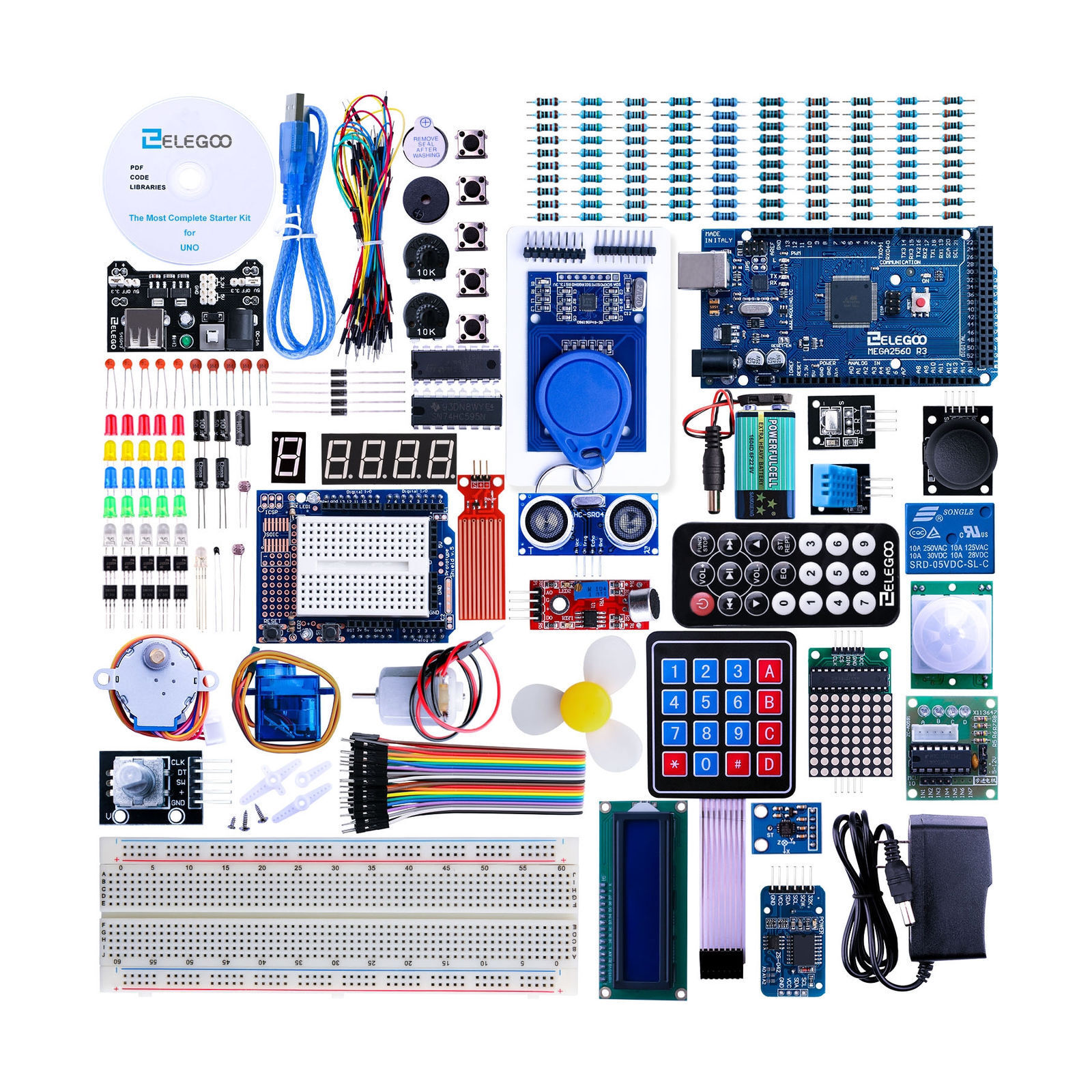 Elegoo Mega 2560 Project The Most Complete Starter Kit El 008 Electronics Circuits Projects Electronic Kits Hobby More Stock Photo