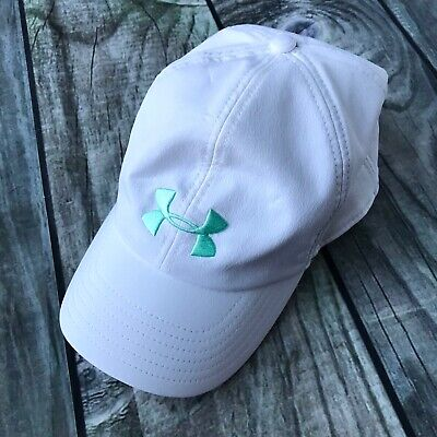 Under Armour Women's Snapback Baseball Hat White Stretchy Teal Embroidered Logo