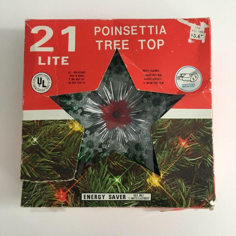 Vintage 21 Light flashing Christmas Tree Topper Green Red Poinsettia Flowers
