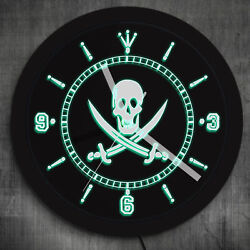 Jolly Roger Pirate Wall Clock with LED illumination Skull With Crossed Swords