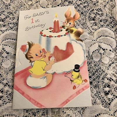 Vintage Greeting Card Baby 1st Birthday Bunny Cake Bird Norcross