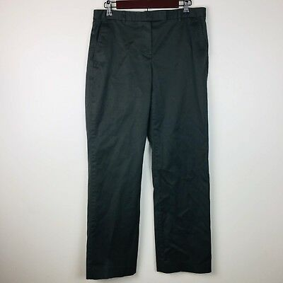 Calvin Klein Trouser Pants 8 Womens Flat Panel Cotton Blend Dark Olive Career Kleine Flat Panel