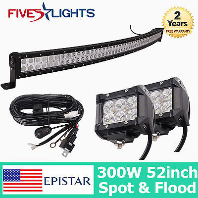 52INCH 300W LED LIGHT BAR CURVED DRIVING COMBO OFFROAD 4WD TRUCK 18W FLOOD LAMP