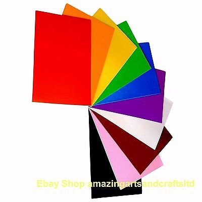 """Craft Foam Sheets A4 """"Self Adhesive"""" Pack of 10 Assorted Colours EVA"""