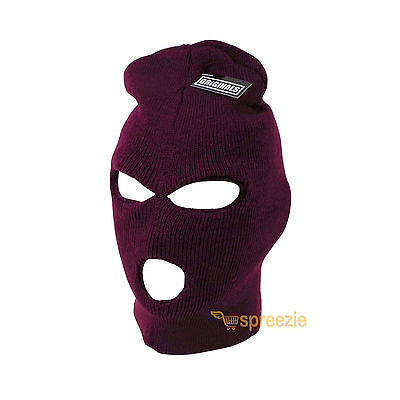 a057a8213f8ca Burgundy Ski Mask Beanie 3 Hole Knitted Cap Hat Warm Face Winter Snow Unisex  New