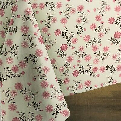 Pink Vinyl Tablecloth (Pink Floral Vinyl Tablecloth Dusty Rose Brown on White Table Cover Asst. Sz.)